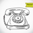 Vintage phone sketch cartoon vector illustration — Stock Vector