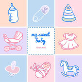 Set of colorful flat icons about baby goods — Stock Vector