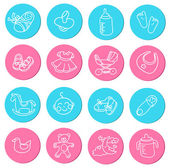 Set of colorful doodles icons about baby goods — Stock Vector
