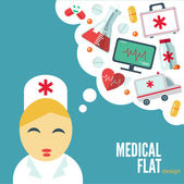 Trendy flat medical icons with shadow. Vector elements — Stock Vector