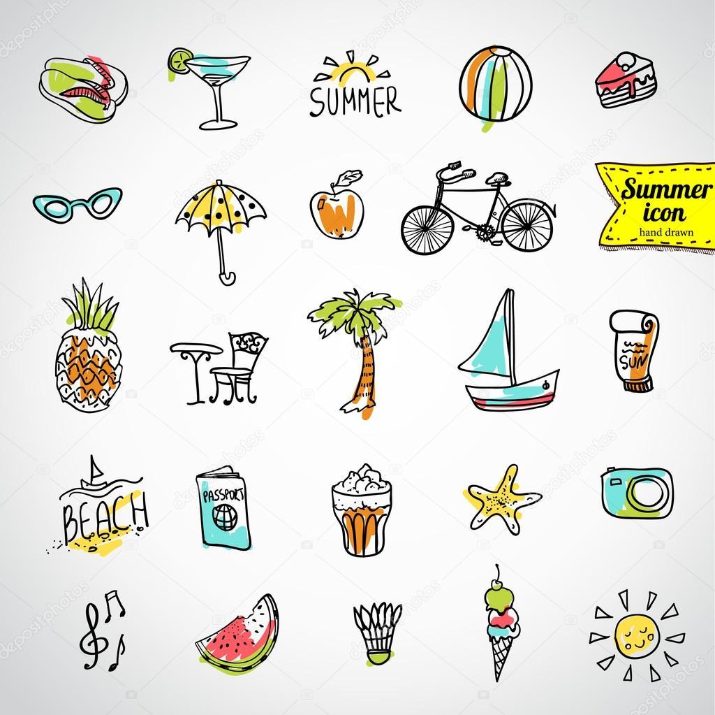 一组矢量涂鸦夏季图标 - 图库插图
