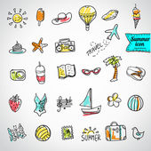 Set of  vector doodle summer icons — Stock Vector