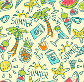 Seamless pattern of  vector doodle summer icons — Stock Vector