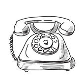 Vintage phone sketch cartoon hand drawn illustration — Stock Photo