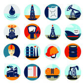 Oil and petroleum icon set, flat isolated vector illustration — Stock Vector