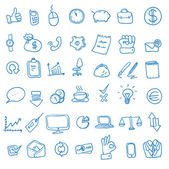 Doodle office, business icons set, — Stock Photo