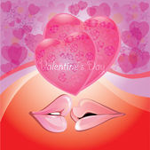 Pink lips with hearts,romantic background — Stock Vector