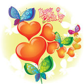 Birthday card with butterfly and hearts — Stock Vector