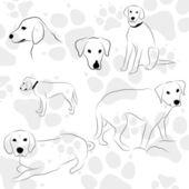 Fondo con patas de perro — Vector de stock