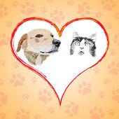 Cartoon kat en hond met hart. — Stockvector