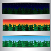 Set of forest banners — Stock Vector