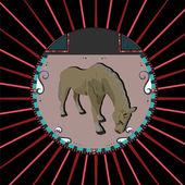 Horse in a circle — Stock Vector