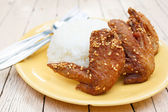 Fried chicken wings with rice — 图库照片