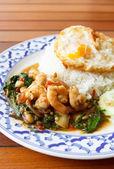 Stir fried shrimp in holy basil  — Stock Photo