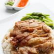 Pork leg with rice isolated on white background — Stock Photo