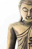 лицо резьбы по дереву будды, изолированные на белом фоне — Стоковое фото