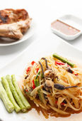 Spicy papaya salad with salted crab — Stock Photo