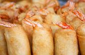 Fried shrimp spring rolls - Thai food — Stock Photo