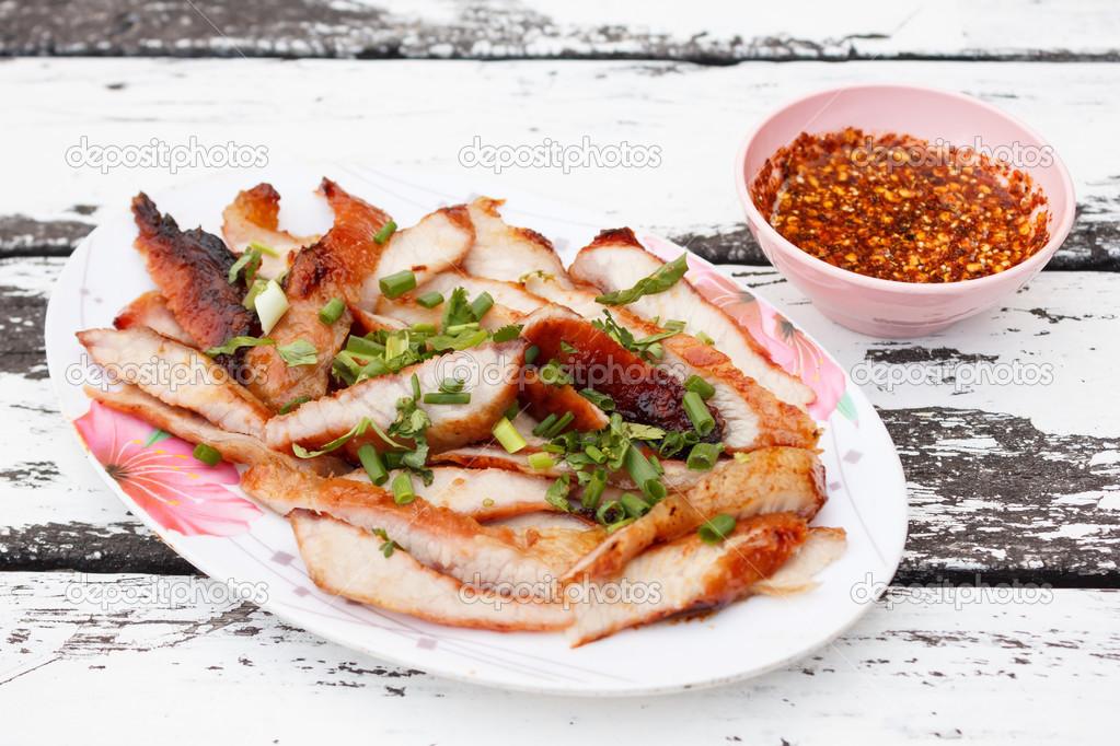 ... pork neck grill grill pork neck thai style jaew grilled pork neck