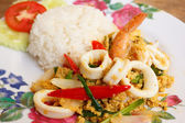 Fried Shrimps with Squid in Curry Powder — Stock Photo