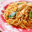 Stir Fried Spaghetti with Chicken in Chilli paste — Stock Photo #46375025