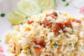 Fried Rice with Chinese Sausage — Stock Photo