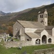 Landscape in Spain Pyrenees with church San Miguel — Foto Stock