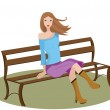 Woman sitting on a bench — Stock Vector #32327211