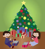 Twins opening Christmas gifts — Vector de stock