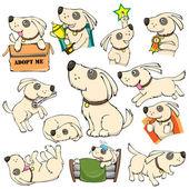 Dog Activities Set Cartoon — Stock Vector