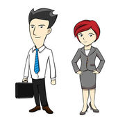 Businessman Businesswoman Employee Cartoon — Stock Vector