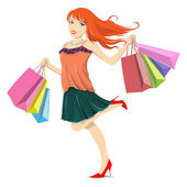 Shopping Spree Sales Girl Woman Lady — Wektor stockowy
