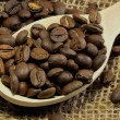 Stock Photo: Coffee beans in spoon