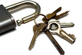 Old rusty castle and a bunch of keys — Stock Photo