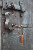 Constipation of old door latch and lock — Stock Photo