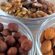 Hazelnuts, walnuts and almonds — Stock Photo