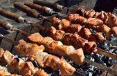 Cooking shashlik on the nature — Stock Photo
