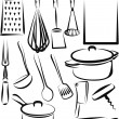Illustration with a set of kitchen utensil — Stockvectorbeeld