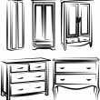 Illustration with a set of wardrobe furniture — Stock Vector