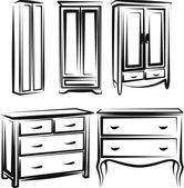 Illustration avec un ensemble de meubles de garde-robe — Vecteur