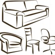 Set of different kinds of sittings — Image vectorielle