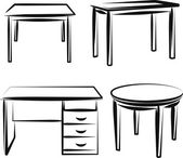 Illustration with a set of furniture — Vecteur