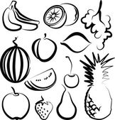 Illustration with a set of fruit — Stock Vector