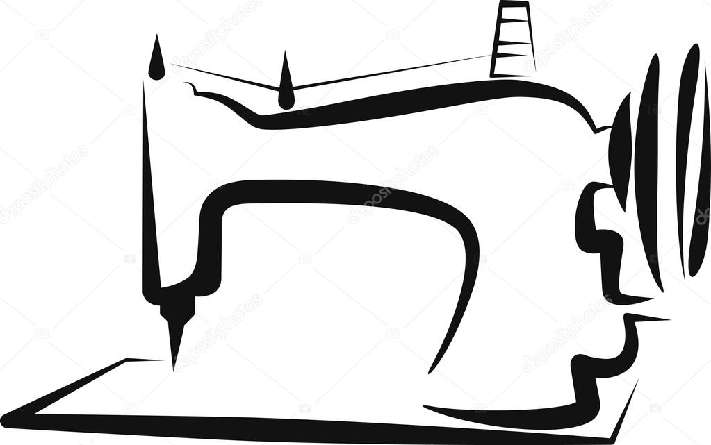 Einfache Abbildung mit einer Nähmaschine — Stockvektor  -> Nähmaschine Blockiert