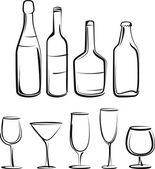 Ilustração simples com conjunto de garrafas e copos — Vetor de Stock