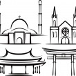 Stock Photo: Illustration with places of worship