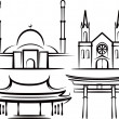 Illustration with places of worship — Stock Photo