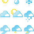 Stock Photo: Weather forecast icons.