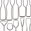 Simple illustration with bottles and glasses set — Stock Photo