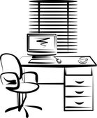 Illustration with office work place — Stock Photo